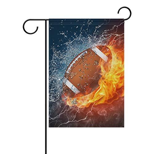 JIRT Gartenflagge, 30,5 x 45,7 cm, abstraktes Wasserfeuer, amerikanischer Fußball, doppelseitig, Polyester Banner für drinnen und draußen, für Rasen und Hof, Dekoration, Image 343, 12x18(in)
