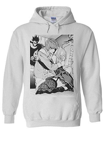 Death Note Light Misa Anime Manga White Men Women Unisex Hooded Sweatshirt Hoodie-S White Womens Sweatshirt