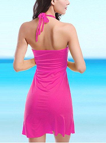 Donna Abito Femminile Copricostumi e Parei Vestito Dalla Spiaggia Colore Puro Rose