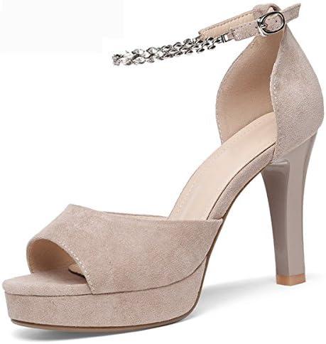 AJUNR Moda/elegante/Transpirable/Sandalias Un botón bellas sexy pescado bocas gato y zapatos de mujer Black Treinta...