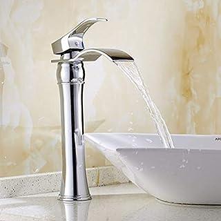 Waschtischarmatur Badezimmer,Waschbecken Wasserhahn Küchenarmaturen Messing,Warmes Und Kaltes Wasser Antiken Wasserfall Gold Küchen Wasserhahn Badarmatur,Silber