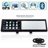 DracoTek GPS43MC - Espejo retrovisor con GPS y Bluetooth, inalámbrico, con mapas de Europa, 10 cm