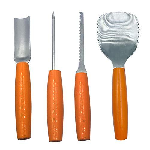 Ysoom Kürbis Schnitzset, Halloween Edelstahl Kürbis Schnitzwerkzeuge 4 Stück Zum Aushöhlen von Kürbissen Schnitz Werkzeug