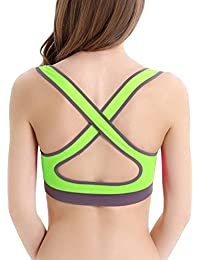 c18e7174cc75f Ritu Creation Women s Padded Full Coverage Quick Dry Padded Shockproof  Cross Back Sports Bra with Removable