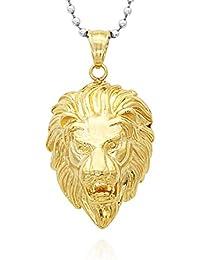 El Oro De Acero Inoxidable De La Manera De Plata Para Hombre De La Cabeza Del Leon Del Colgante De Joyeria