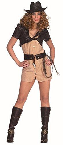 Krokodiljäger Kostüm in beige-braun für Damen | 44 | 1-teiliges Abenteurer Kleid mit Gürtel, Peitsche und Bolero| Indianer Jones Faschingskostüm für Frauen | Archäologin Kostüm für (Jones Indiana Frauen Kostüme)
