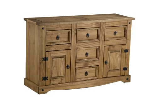 Birlea Furniture-Corona, 2 porte, 5 cassetti Credenza in legno di pino cerato