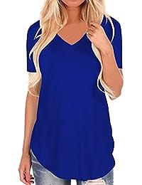 OVERDOSE Frauen Kurzarm V-Ausschnitt Unregelmäßiger Hemd Lose Damen Casual Tee  T-Shirt Tops 93ae9f1b77