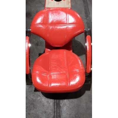 Poltrona lavatesta lf-961 a 1 posto (shampoo bed) ceramica uso professionale salone parrucchiere poltrona rossa/ceramica bianca