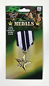 deluxe combat army military medal gold on ribbon with brooch fastening