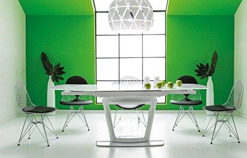 Jadella tavolo 'william' con superficie in vetro allungabile bianco lucido laccato 180°