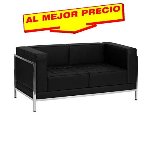 SOFA SIMILPIEL MODELO BRADFORD 2 PLAZAS BASE ACERO INOXIDABLE  SIMILPIEL NEGRA-ESPECIAL SOFA 2 PLAZAS-¡AL MEJOR PRECIO!