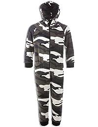 Camille Childrens Snow Camouflage Supersoft Fleece Zip Front Hooded Onesie