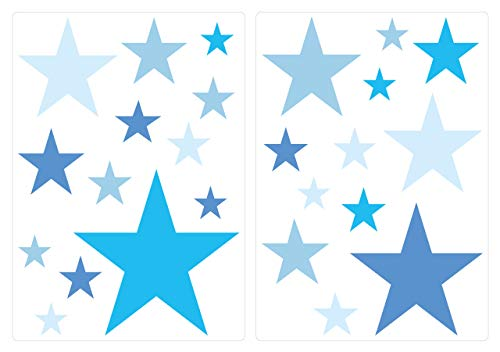 dekodino Wandtattoo Kinderzimmer Wandsticker Set Blaue Sterne für Jungen zum Kleben Wand