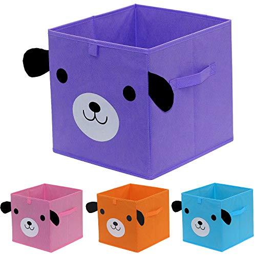 homyfort Set di 4 Scatola di Giocattoli Cartoon Scatola Contenitore di immagazzinaggio per Bambini, Non Tessuto, cubo organizzatore Pieghevole Cesto Armadio, 30 x 30 x 30 cm, 4 Colori, XDGOB04P