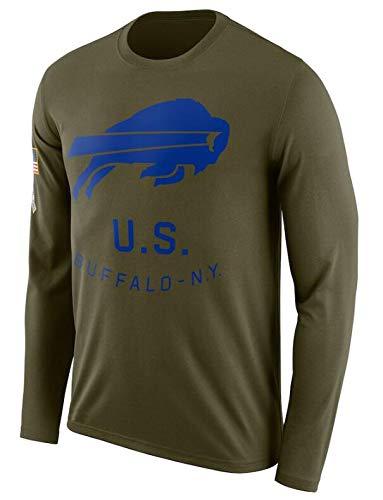 Z-ZFY Männer Jersey NFL Langarm-T-Shirt-Buffalo Bills Lose Und Atmungsaktiv, Armee-Grün, S-3XL,S160~165cm