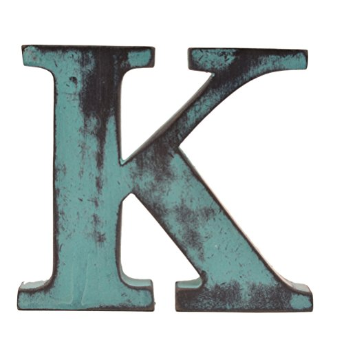 Shabby Chic Vintage Large 11 cm Wooden Letters Hand Finished Alphabets Free-Standing Or Wall Mounted Décor for Weddings Baby Names Signs Unique Personalised Gift. (Teal, Letter K)