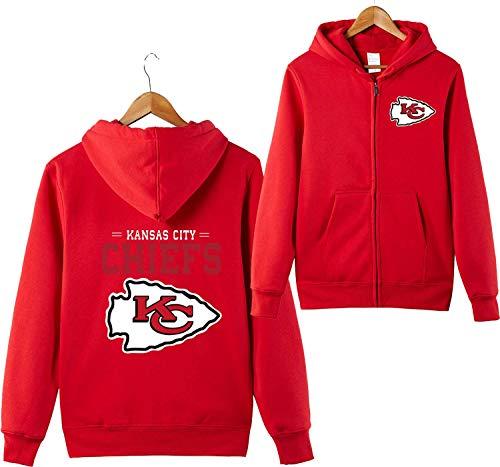 ZXTXGG Männer 3D Hoodies KC Kansas City Chiefs NFL Football Team Uniform Muster Digitaldruck Strickjacke Reißverschluss Liebhaber Kapuzenpullis(S,Rot) Kansas City Chiefs Uniform