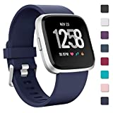 Zekapu Strap For Fitbit Versa/Fitbit Versa Lite, Replacement Bands Silicone Sport Accessory Wristband for Fitbit Versa/Fitbit Versa Lite, Small(5.5- 7.1) Dark Blue