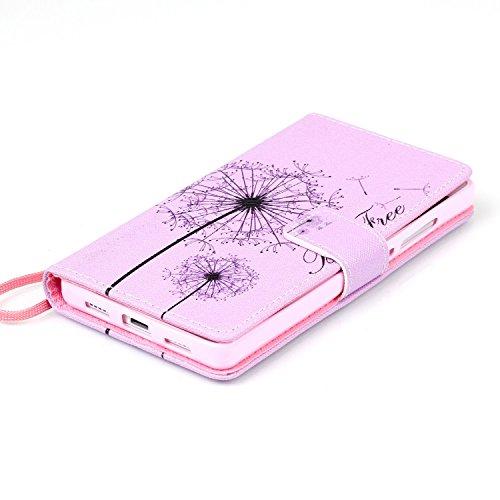 Meet de Huawei P8 Lite Bookstyle Étui Housse étui coque Case Cover smart flip cuir Case à rabat pour iPhone 4S Coque de protection Portefeuille - Never stop dreaming Dandelion Rose