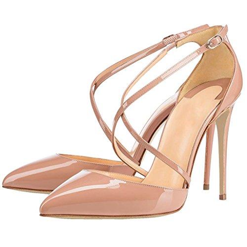 EDEFS Damen Stilettos High Heels Pumps Knöchelriemchen Spitze Zehen Übergröße Schuhe Beige