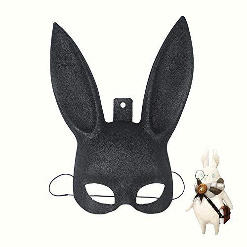 Kostüm Bunny Für Verkauf - ProMu-Masquerade Mask Halloween Kostüm Ball Dress Up Cosplay Kaninchen Maske Bunny Ear Vollgesichtsmaske (Color : Black)