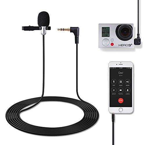 Tycka 3.5mm Klinke Clip-on Omnidirektionale Kondensator Lavalier Mikrofon für Kamera, kommt mit 3,5 mm AUX Audio Kabel Splitter für iPhone, Android Handys, Tablets und PC,Mini USB Adapter für GoPro 4/3 + / 3, Ideal für die Aufnahme, Online-Chatten,Video