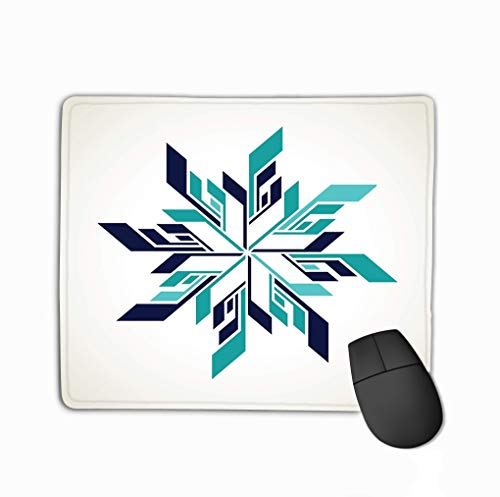 Mouse Pad Ice Hockey Snowflake Logo Abstract Variegated Rectangle Rubber Mousepad 11.81 X 9.84 Inch