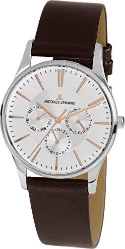 Jacques Lemans Unisex-Armbanduhr London Analog Quarz Leder 1-1929D