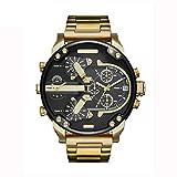 Mode-Mann-Edelstahl-analoge Quarz-Armbanduhr-Armband-Mann-Uhr-große Größen-automatische mechanische Uhr - Gold u. Schwarzes