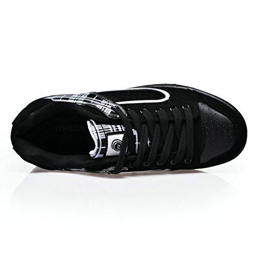 Skate-Schuhe, mit ausklappbaren Rollen, für Jungen und Mädchen geeignet Black White