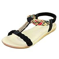 YOUJIA Womens Bohemia Rhinestones T-Strap Peep Toe Slingback Flip Flop Flat Shoes Sandals (Black, 2.5/3 UK)