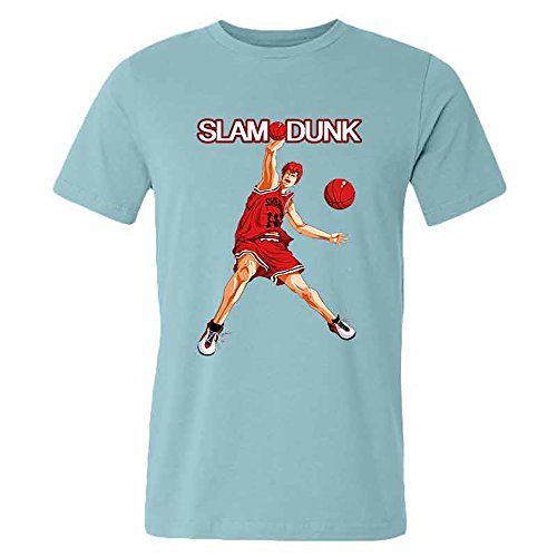 SLAM DUNK -Handsome basketball master Sakuragi Hanamichi teal T-shirt for men-L par  Good Day