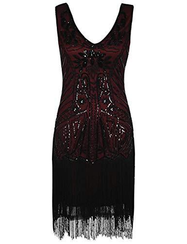 PrettyGuide Damen Flapper Kleid Stickerei Pailletten Fransen Cocktail 20er Jahre Kleid, Burgund, L/EU42-44 (Vintage-20er Jahre Kleider)