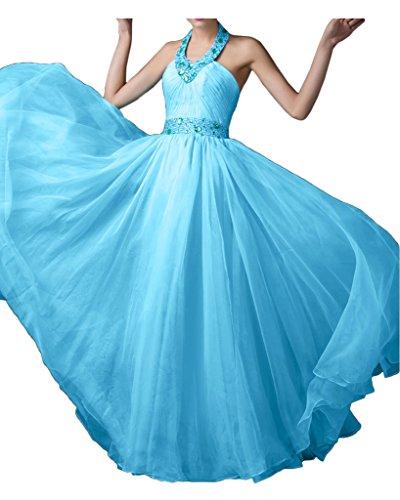Sunvary Romantisch Neu Neckholder Chiffon Steine Perlen Abendkleider Bodenlang 2017 Partykleider Promkleid Blau