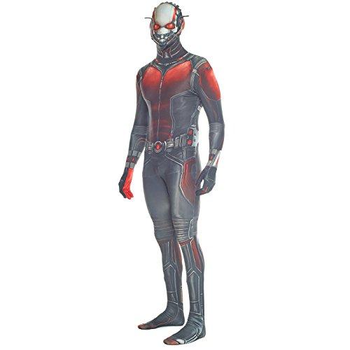Kostüm Marvel Helden Schurken - Morphsuit Offizieller Antman Verkleidung, Kostüm, Mehrfarbig, Large - 5'5-5'9 (163cm-175cm)