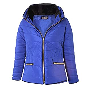 Love My Fashions® Women Jacket Ladies Parka Padded Puffer Bubble Fur Fitted Collar Hood Quilted Curved Hem Long Sleeves Zip Up Cosy Warm Winter Knitted Coat Plus Size Royal Blue