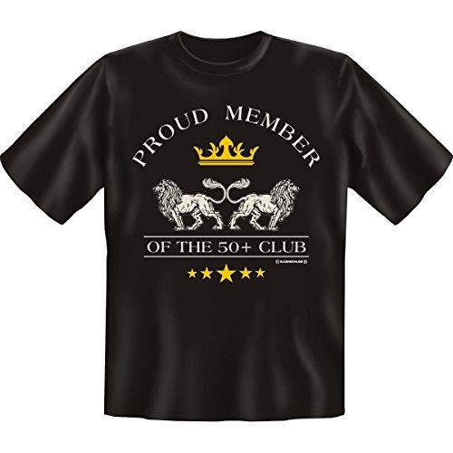 Proud Member of the 50+ Club! Fun T-Shirt 50. Geburtstag tshirt mit Urkunde! Schwarz