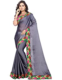 ARSH IMPEX Grey Color Towel Work Embroidered Lace Border Silk Women Saree With Blouse Piece