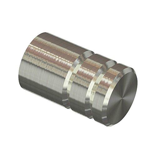 Flairdeco Endstücke für 12 mm Ø Gardinenstange, Rillenzylinder, Edelstahl, 2 Stück (12 Gardinenstange)