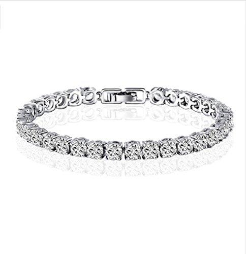 Gowe 10K Weiß Gold Armband Armbänder Charm Zirkonia Simuliert Diamant Schmuck Kette Link