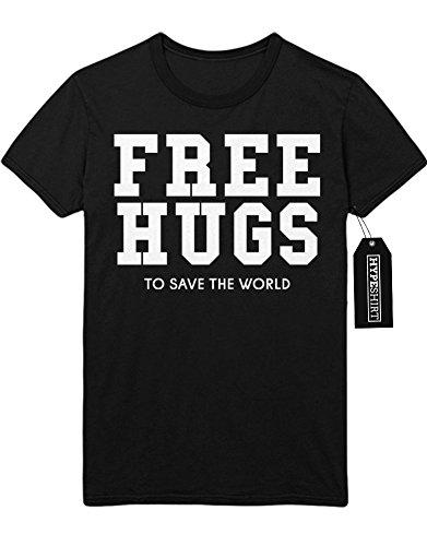 T-Shirt Free Hugs To Save The Word Peace Weltfrieden Hipster Patch Dalai Lama H970012 Schwarz (Schwarz Kostüm Lama)
