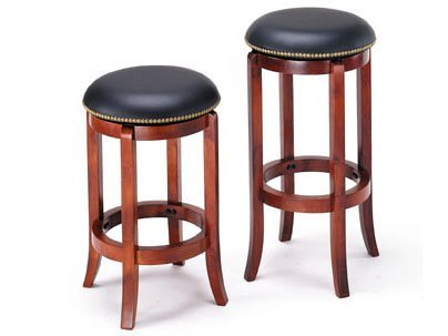 Set of 2 Classic Chelsea Cherry Finish Swivel Bar Stool 29 Seat Height ACS70198 70199 by Click 2 Go - Cherry Home Bar Set