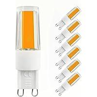 LAKES G9 LED Lampadina, 3W (equivalente lampadina alogena 35W), 270LM, non dimmerabile, 3000K bianco caldo, lampadine a risparmio energetico, confezione da 6