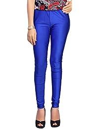 Comix Women Cotton Lycra Fabric Comfort Fit Ankle Length Plain Leggings (Off Blue,XXL)