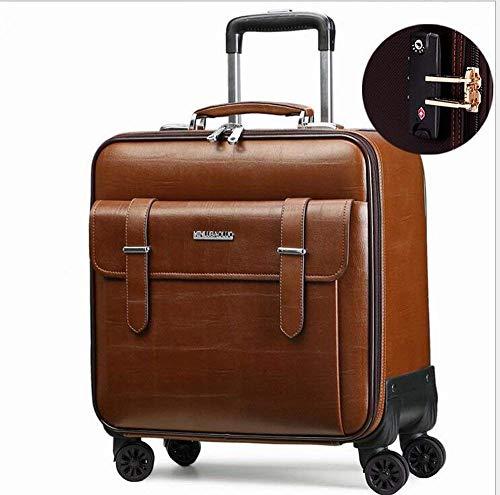 Cabin Laptop Gepäck 4 Räder Business Trolley Computer Aktentasche weitermachen Roller Fällen,Brown,18inches -