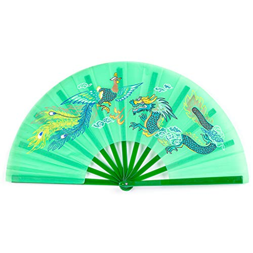 CADANIA Chinesische Kung Fu Fan Tai Chi Kampfkunst Drache Phoenix Kunststoff Handheld Faltfächer Kunst Tanz Geschenk Grün