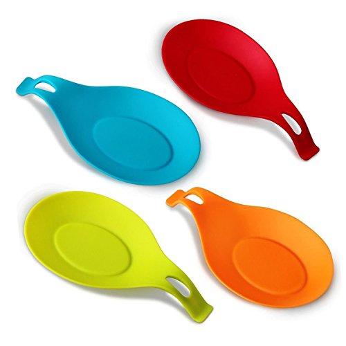 Repose cuillère/Fouet/Spatule/Louche. Pose ustensile/Couvert en silicone alimentaire, Ovale et élégante. Set de 4 REPOSE-CUILLERE (19,5cmx10cm) Multicolore