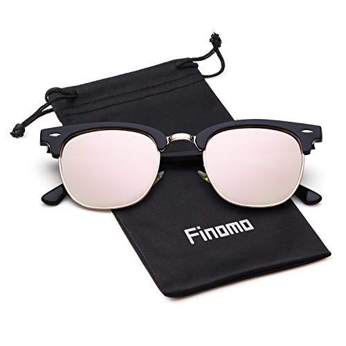 Finomo Halbrahmen Polarisierte Sonnenbrille Retro Verspiegelt Sunglasses für Damen Herren