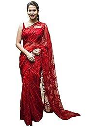 Swara Fashion Women's Nylon Net Multi Work Saree(SFA-3231-A_Red)